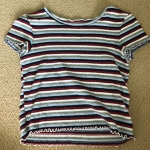 AMERICAN EAGLE STRIPED RUCHED TOP